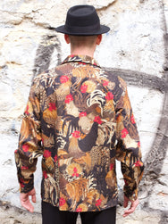 Black Sign Fowl Pattern LS Shirt