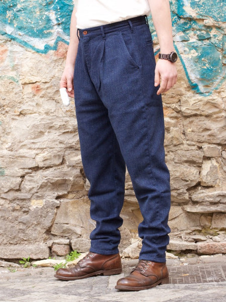 Momotaro Jeans 01-062 Twill Herringbone Tapered Trousers