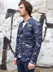 Barbour x White Mountaineering Navy Tempest Print Lapel Jacket