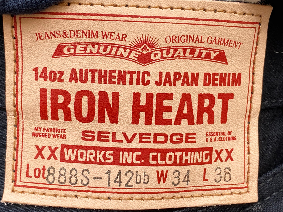Iron Heart IH-888S-142bb 14oz Medium/High Rise Tapered  - Black/Black