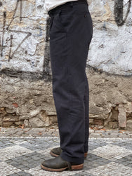 Hansen Garments Sune Wide-Cut Trousers Black Pin