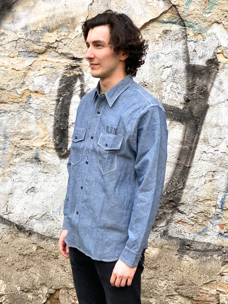 Real McCoy's MS18013 U.S.N. Chambray Shirt LS