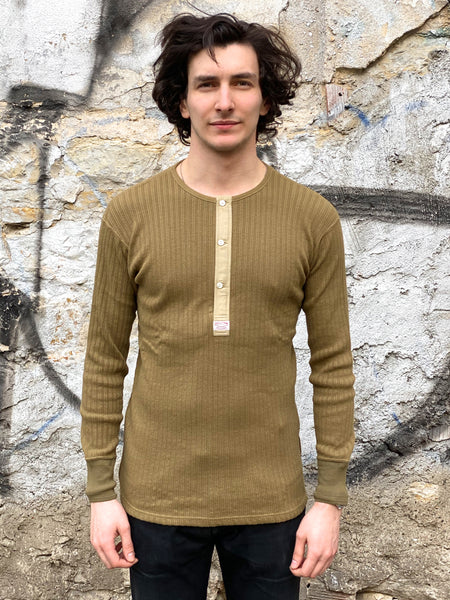 Real McCoy's MC19008 Double Diamond Henley Khaki