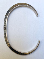 "Iron Heart IHSI-10 ""V"" Profile Bangle - Sterling Silver"