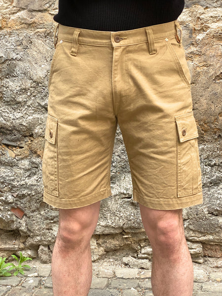 Iron Heart IH-724-BEI 12oz Swedish Serge Camp Shorts - Beige