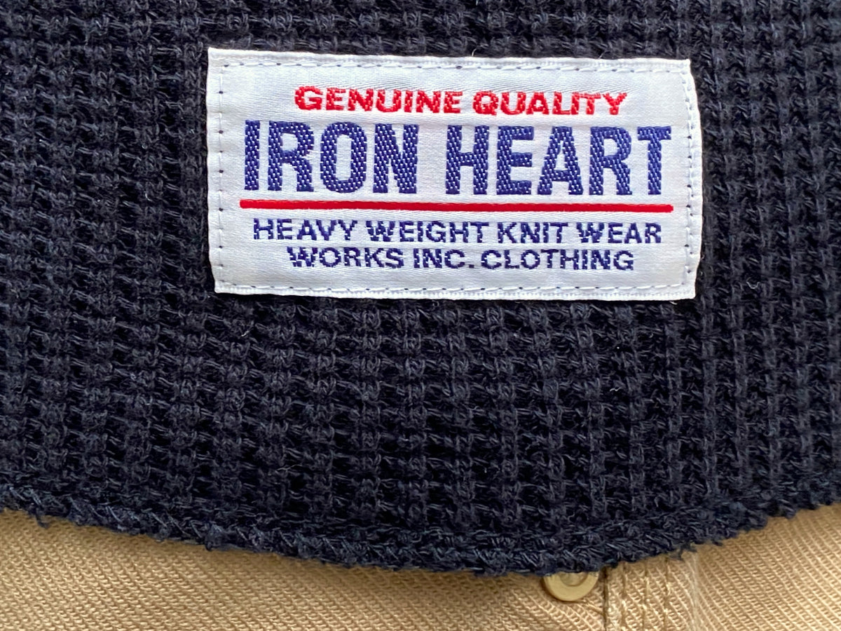 Iron Heart IHTL-1213 Waffle Knit Long Sleeved Thermal Henley Black