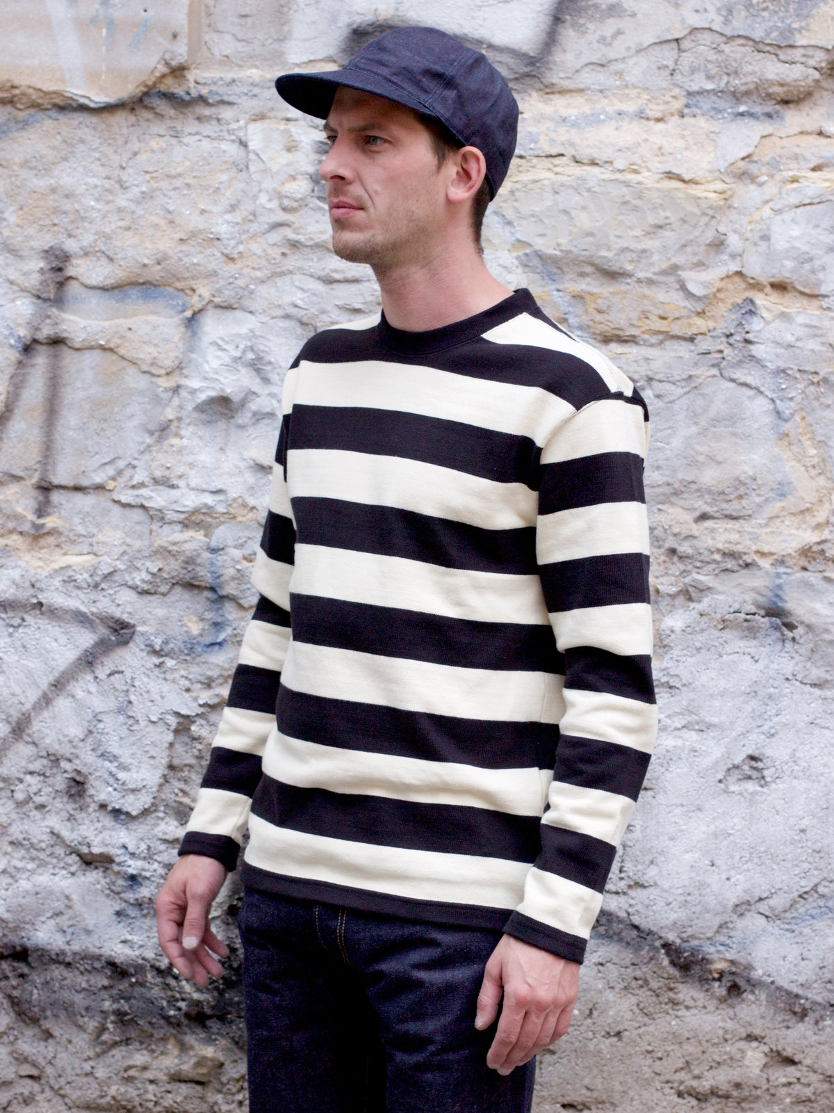 The Real McCoy's BC18104 Buco Heavy Striped Jersey Black&White