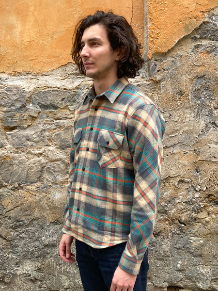 Indigofera Bryson Flannel Shirt Grey/Beige/Petrol/Red