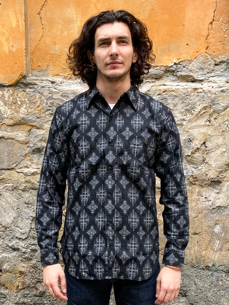 Black Sign Light Weight Gul Jacquard Working Shirt  White Gul
