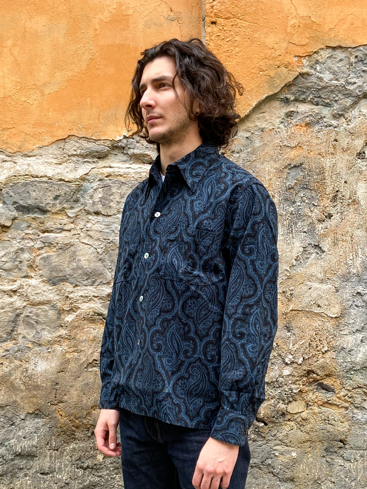 Black Sign Paisley Cord Gangster Shirt Navy