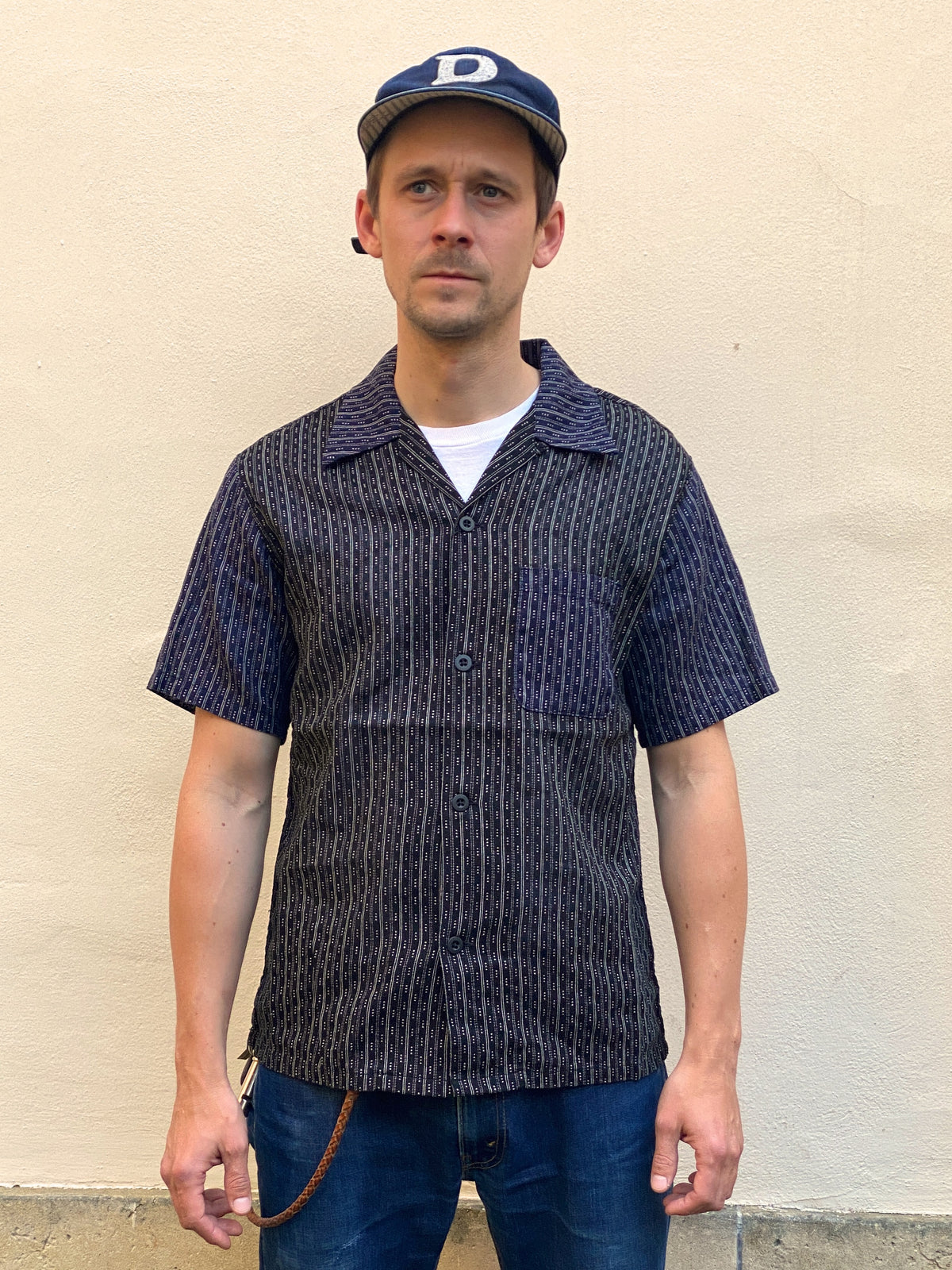 Momotaro 06-086 Open Collar Shirt Black