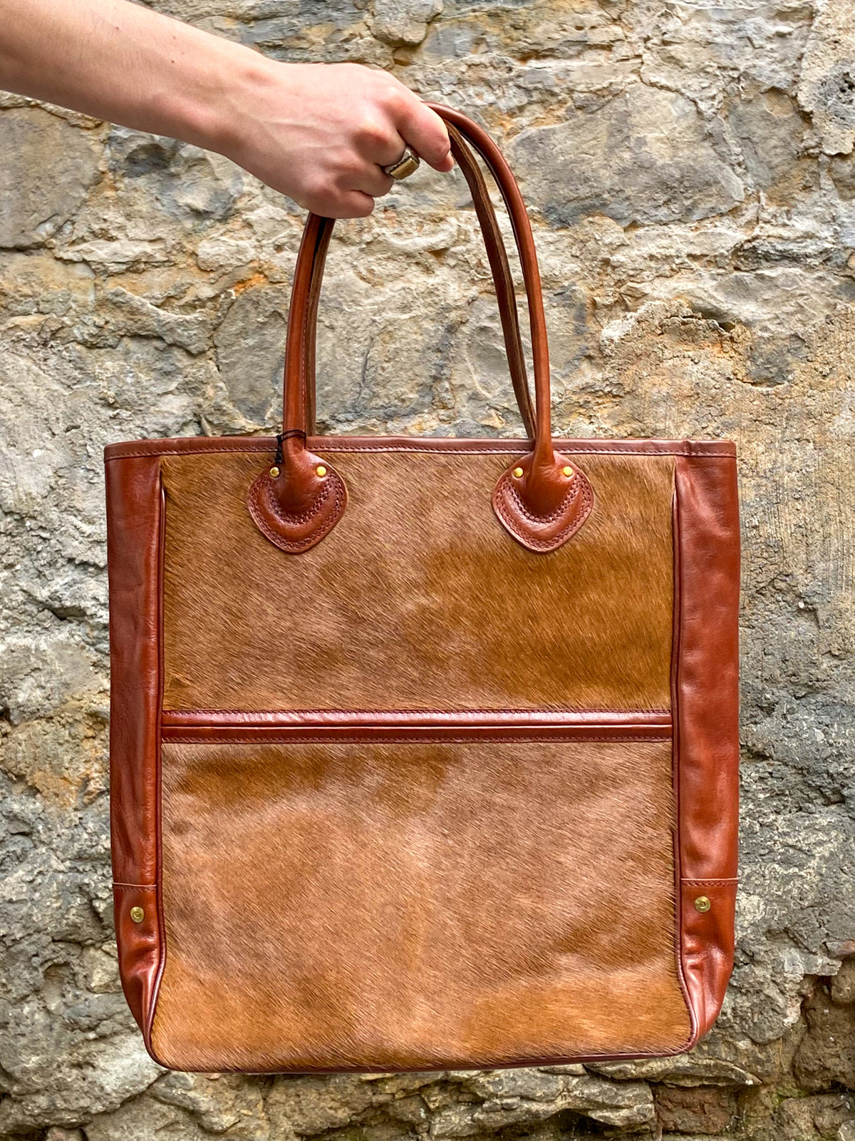 Black Sign Horsehair Tote Bag Brown