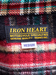 Iron Heart IHSH-238 Ultra Heavy Flannel Crazy Check Work Shirt - Black