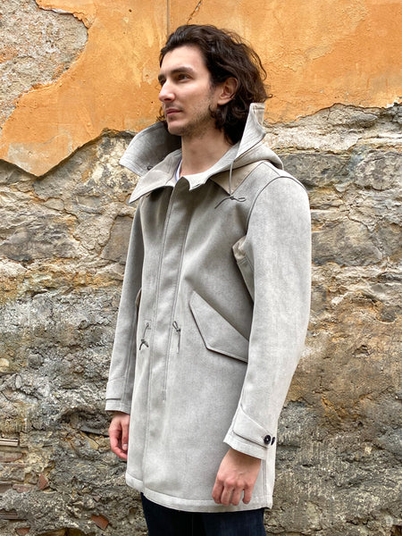 Ten C Ultra Suede Parka Grey Elephant