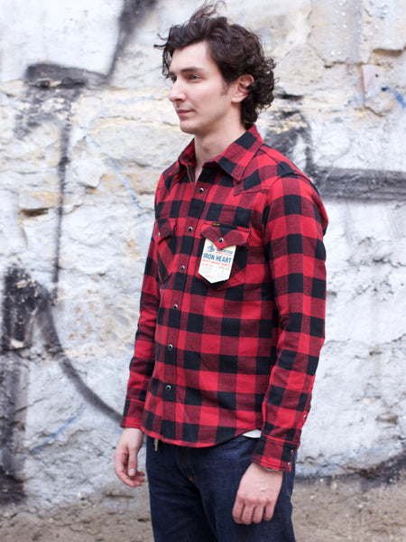 IHSH-232-RED Ultra Heavy Flannel Buffalo Check Western Shirt - Red/Black