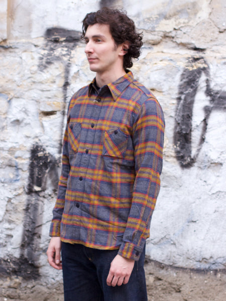 SNL19-01 Flannel Check Workshirt Mustard
