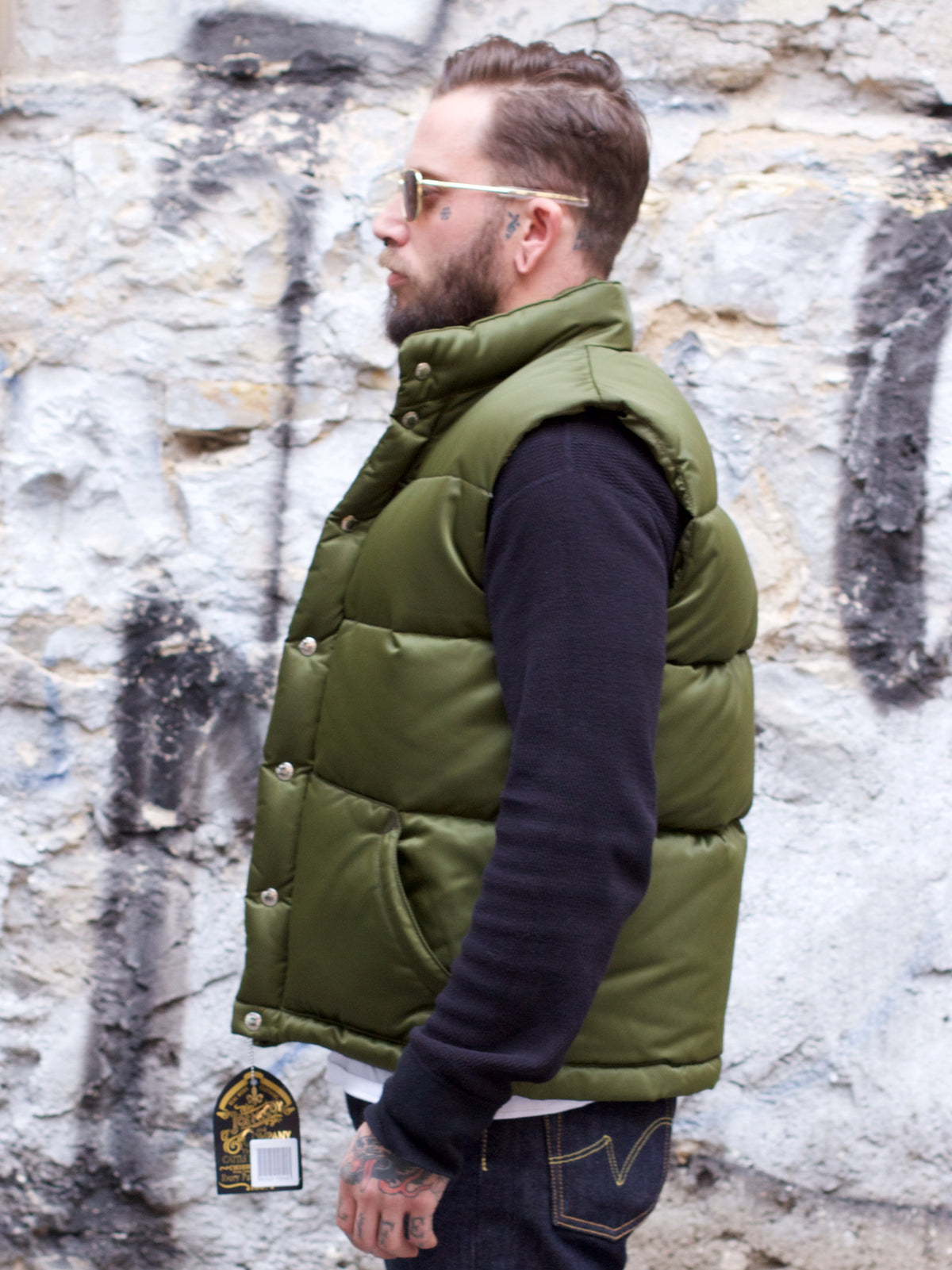 Joe McCoy MJ17166 Nylon Down Vest Olive