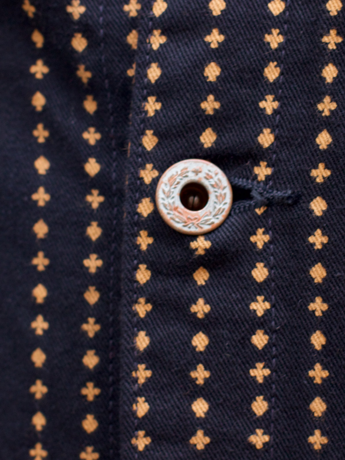 Playing Card Pattern Worker's Jacket - Midnight Black