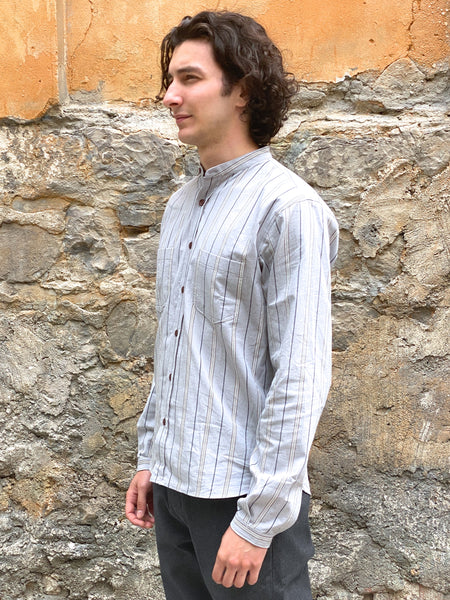Indigofera Muir Shirt Cotton Stripe, Grey / White / Navy