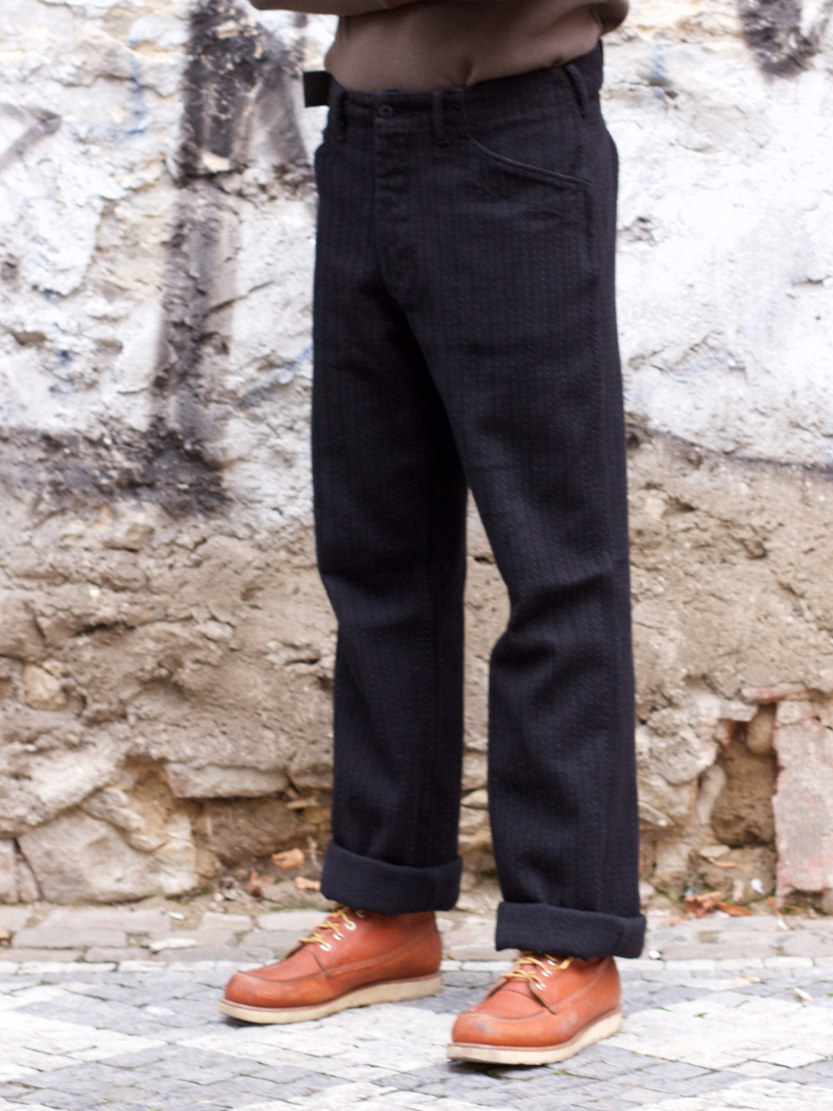Black Sign Night Herringbone Miner Waist-Overall - Midnight Black