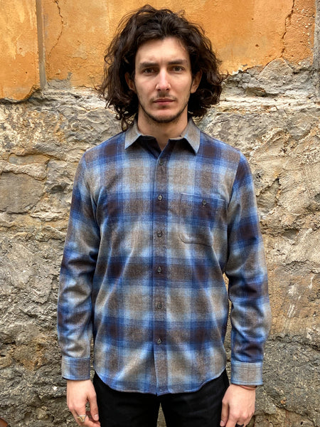Pendleton Elbow-Patch Trail Shirt Taupe/Brown/Blue Ombre