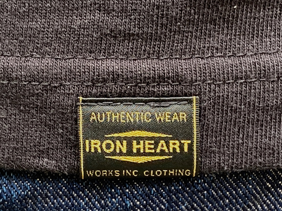 Iron Heart IHT-1610L Loopwheel Crew Neck T-Shirt with longer body Black