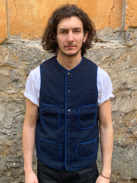 Japan Blue Indigo Sashiko Quilted Vest J422941