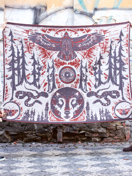 Indigofera x Coyote Thunder Wool Blanket Eye of the Forest