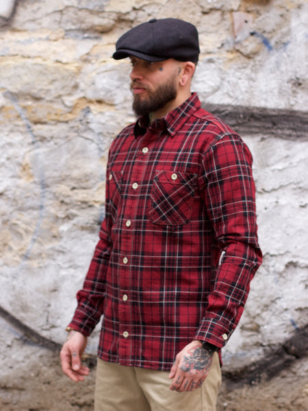 Momotaro 05-251 Block Check Flannel Shirt Red