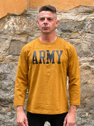 The Real McCoy's MC20029 Army Military Football Three-quarter sleeve T-shirt Mustard