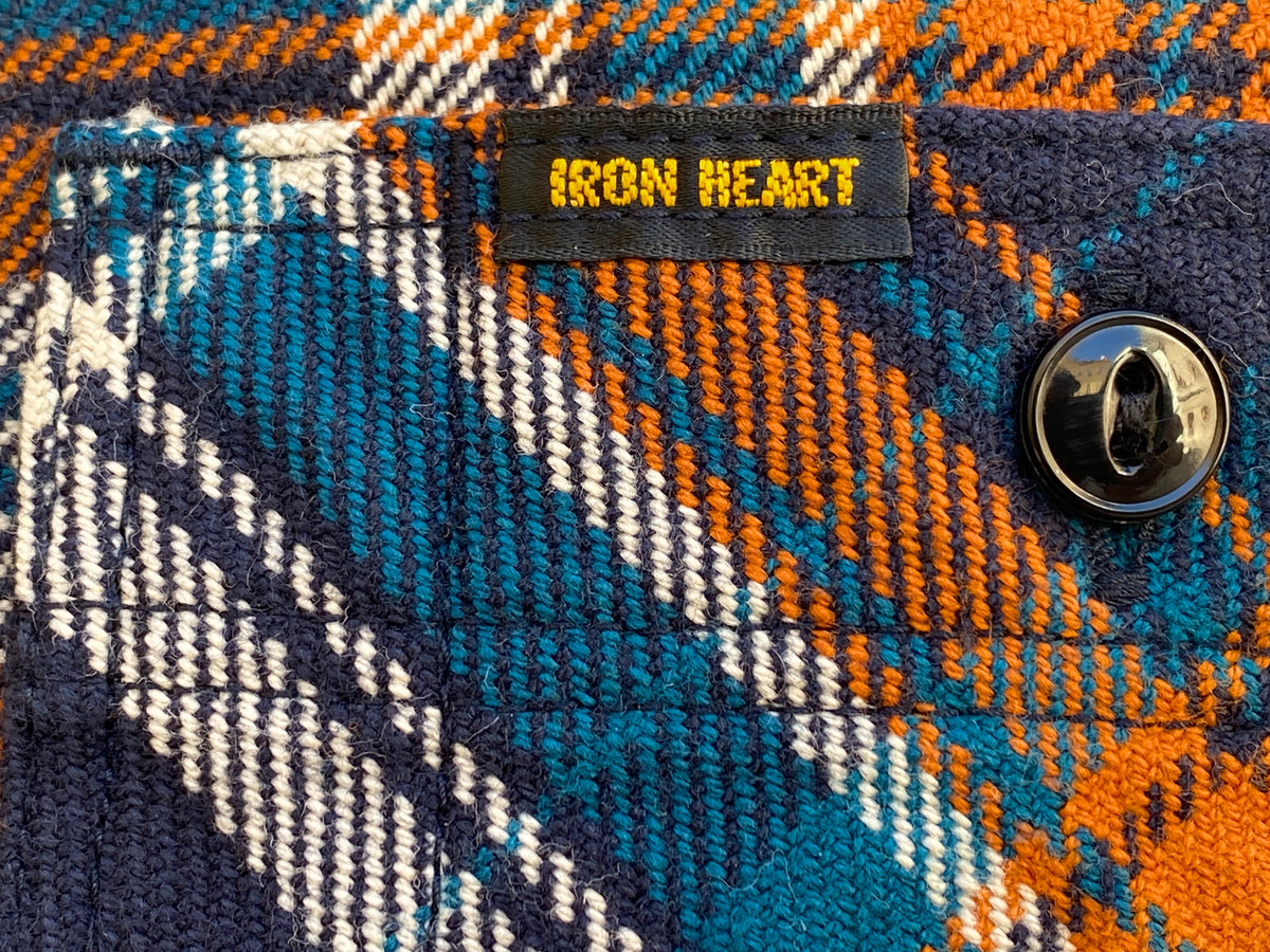 Iron Heart IHSH-263 Ultra Heavy Flannel Crazy Check Work Shirt - Navy