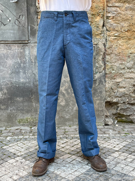 Black Sign Canvas Denim Officer Trousers / Nile Blue