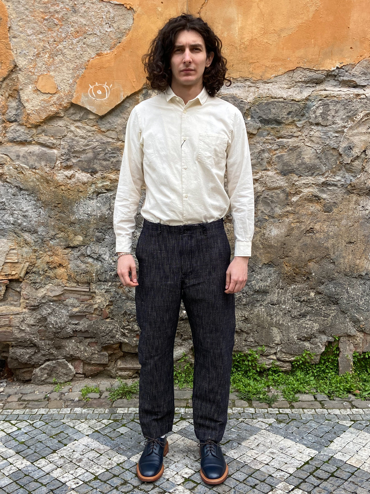 Hansen Garments Trygve Wide Cut Cropped Trousers Black Hemp