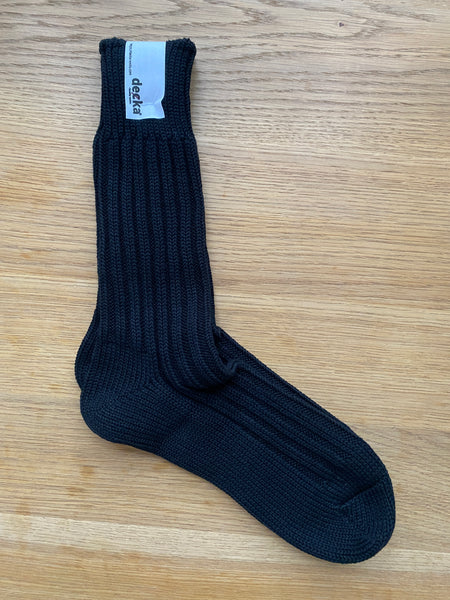 Decka Cased Heavy Weight Plain Socks - 2nd collection - Black [de-01L]