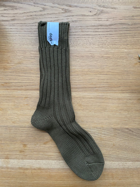 Decka Cased Heavy Weight Plain Socks -3rd collections- Olive  [de-01-2]