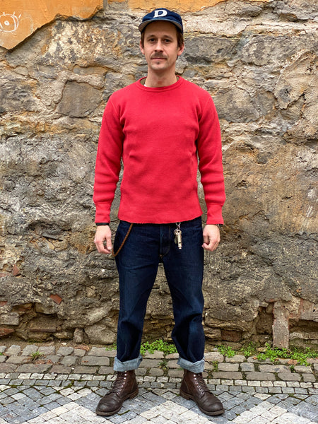 Studio d'Artisan 9936 Heavy thermal long sleeve T-shirt Red