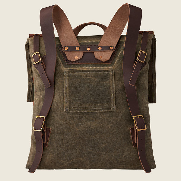 Red Wing Travelers Weekender Backpack Leather/Waxed Canvas - Copper/Tan