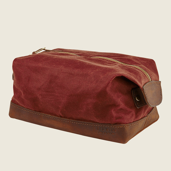 Red Wing Travelers Dopp Kit Leather/Waxed Canvas - Red