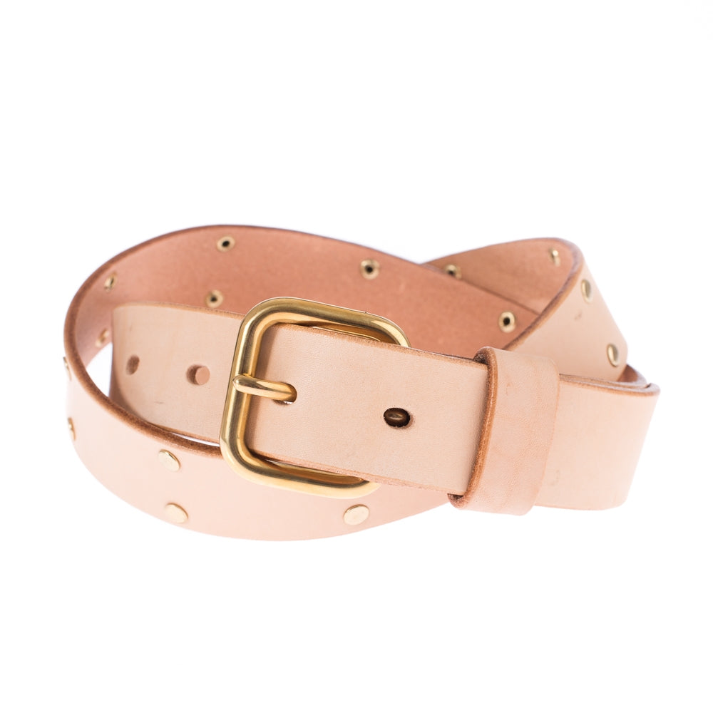 Krysl Goods Belt Riveted & Studded-J/Vegetable Tan