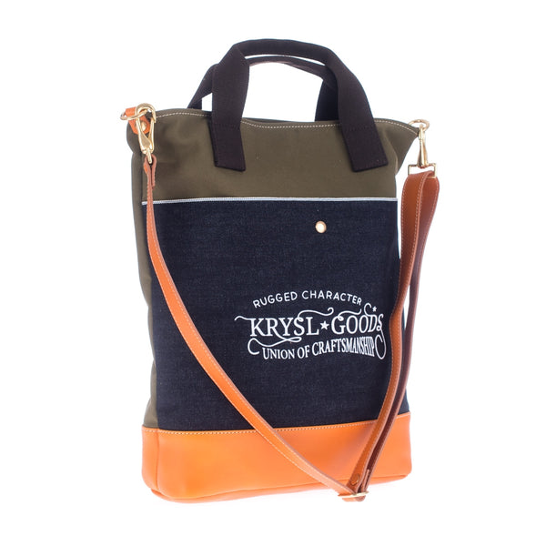 Krysl Goods Tote Bag Vz.25 Olive / Selvedge Denim