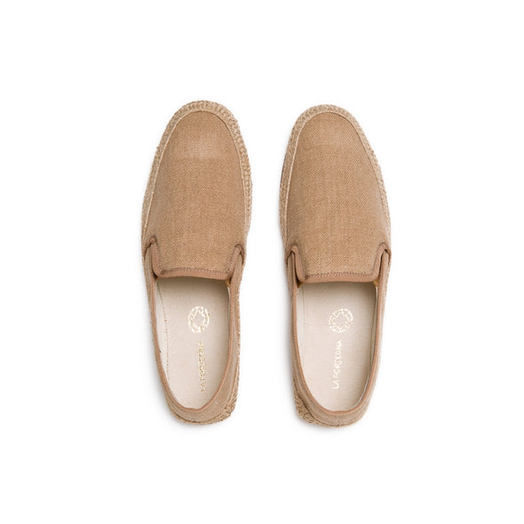Dani Linen Tan | Espadrilles UK | La Portegna UK | Handmade Leather Goods | Vegetable Tanned Leather