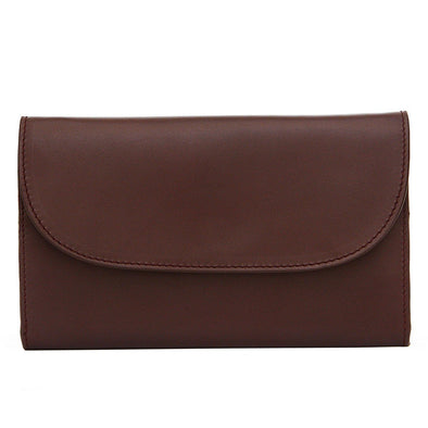 Leather Crossbody Bag | Purses | Lucia Burgundy Chain - Close