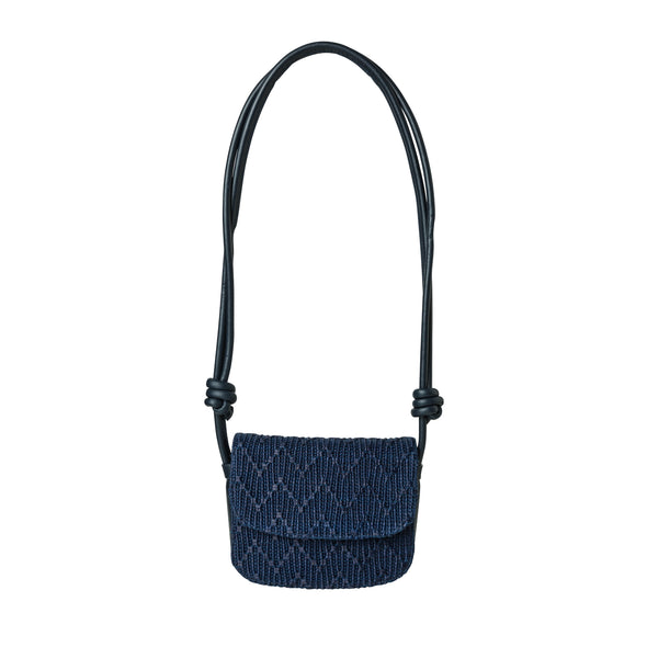 Lucia Mini Navy Jute | UK | La Portegna UK | Handmade Leather Goods | Vegetable Tanned Leather