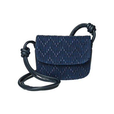 Lucia Mini Navy Jute | La Portegna UK | Handmade Leather Goods | Vegetable Tanned Leather
