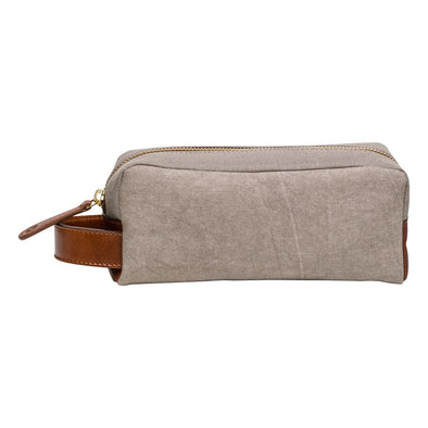 Mini Dopp Kit Cement Washcases | La Portegna UK | Handmade Leather Goods | Vegetable Tanned Leather