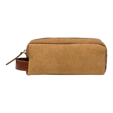 Mini Dopp Kit Mustard Washcases | La Portegna UK | Handmade Leather Goods | Vegetable Tanned Leather