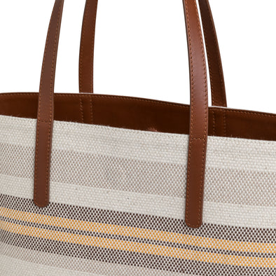 Olivia Tote Yellow Stripes | Shoulder Bags UK | La Portegna UK | Handmade Leather Goods | Vegetable Tanned Leather