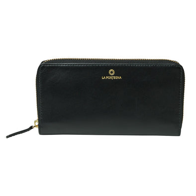 Julia Purse Black | La Portegna UK | Handmade Leather Goods | Vegetable Tanned Leather
