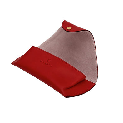 Leather Glasses Case | Red Sunglasses Case - Open