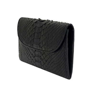Lucia Mini Purse Python Black | Purses UK | La Portegna UK | Handmade Leather Goods | Vegetable Tanned Leather